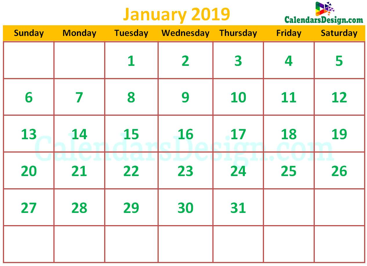 Cute January 2019 Calendar