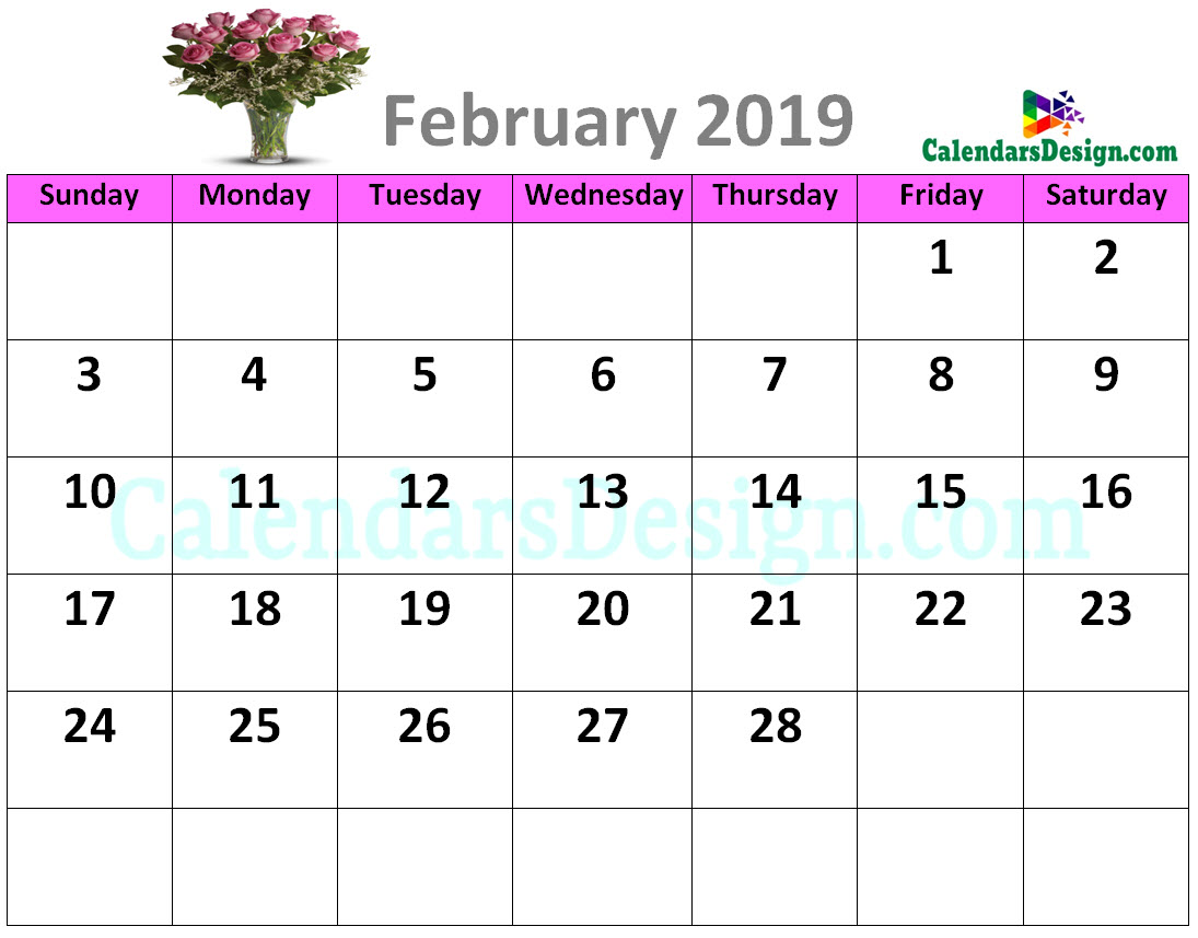 Decorative February 2019 Cute Calendar