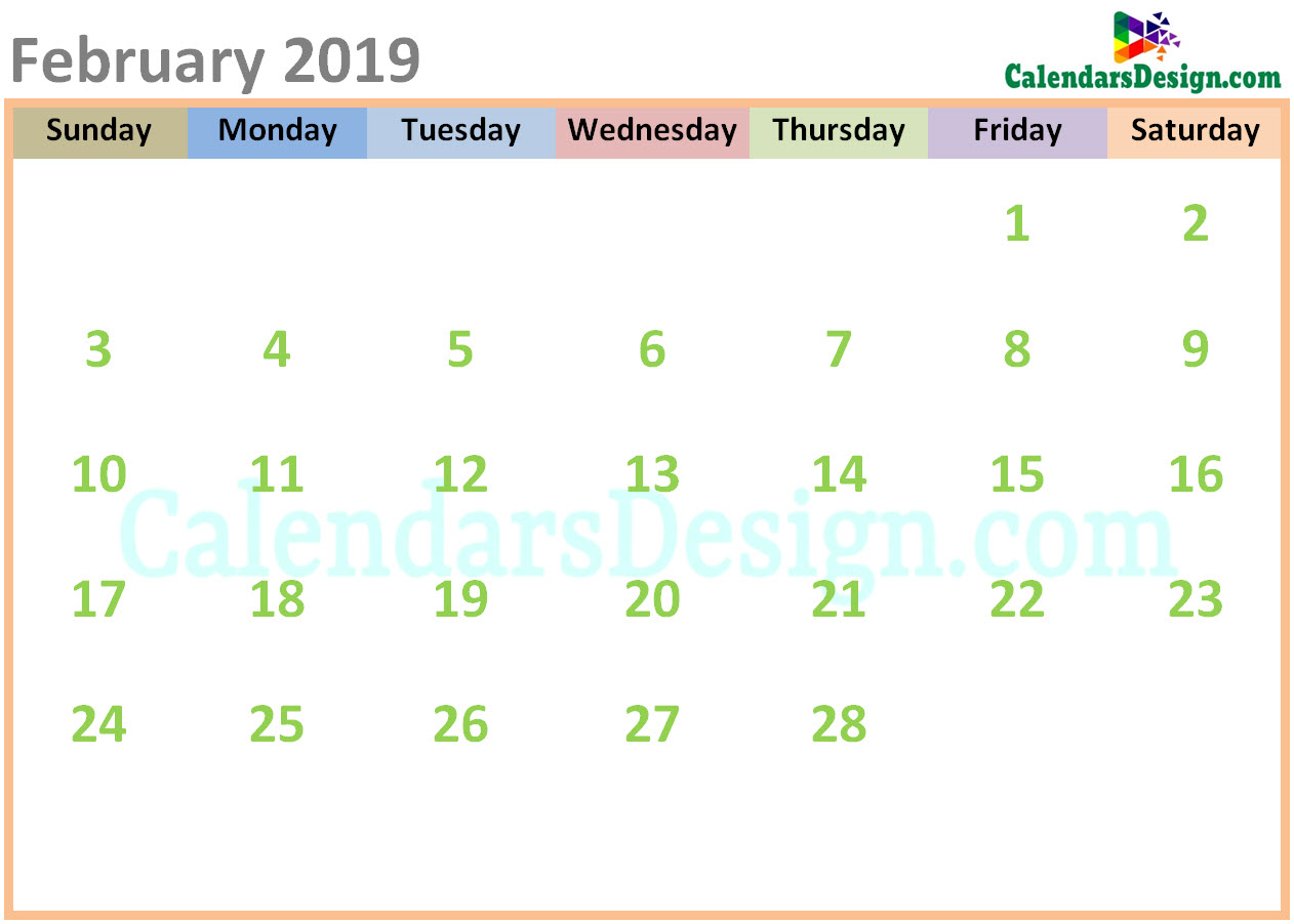 photograph regarding Printable Calendar Cute named February 2019 Calendar Adorable Ideas - No cost 2019 Printable