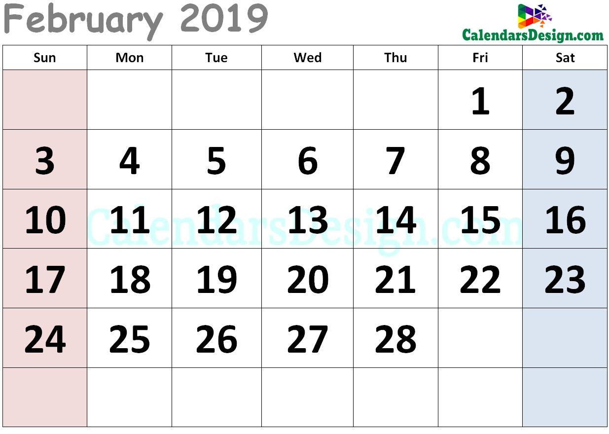 February 2019 Calendar Cute Free 2019 Printable Calendar