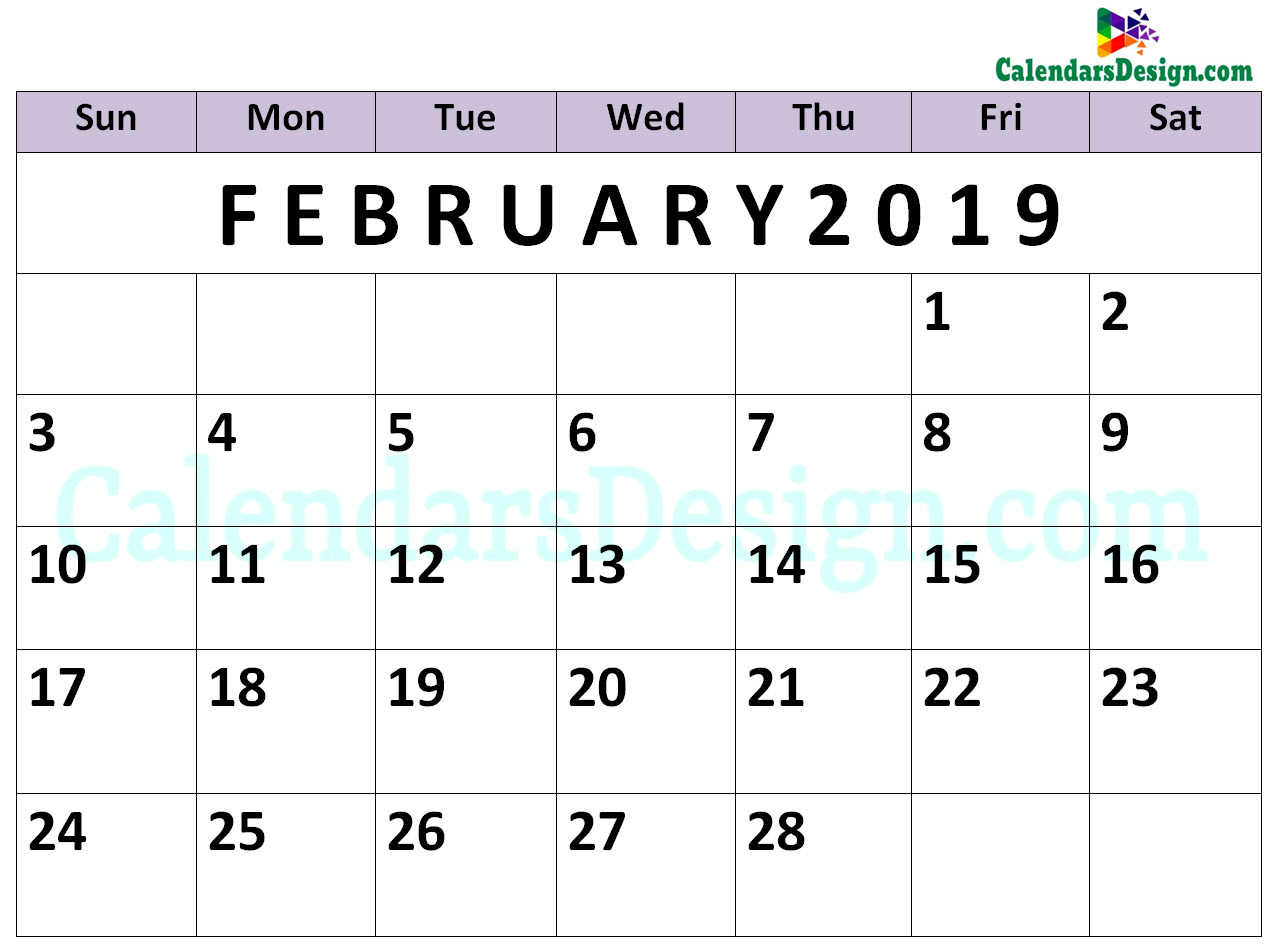 graphic about Printable Calendar Pdf called February 2019 Calendar PDF - Totally free 2019 Printable Calendar