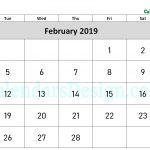 February 2019 Calendar Word Doc