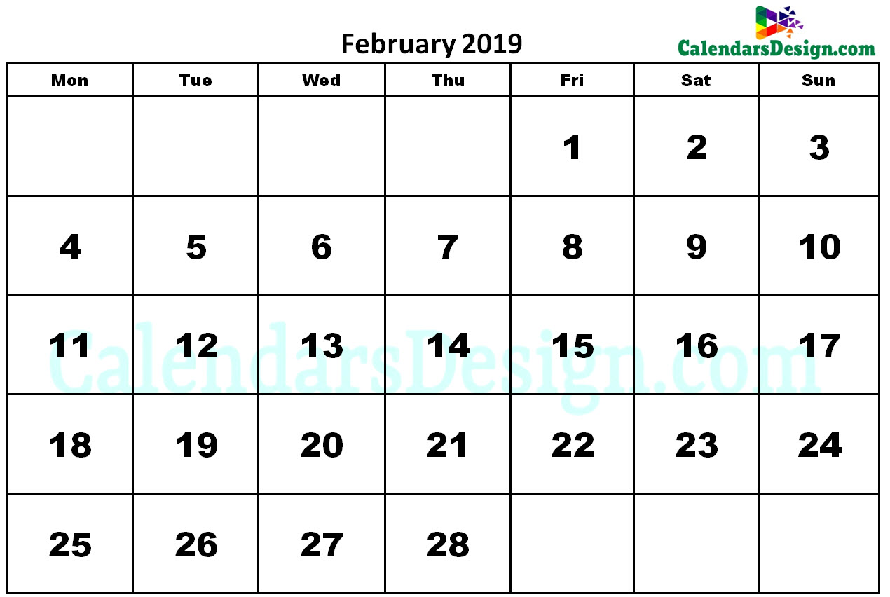 February 2019 Calendar Word
