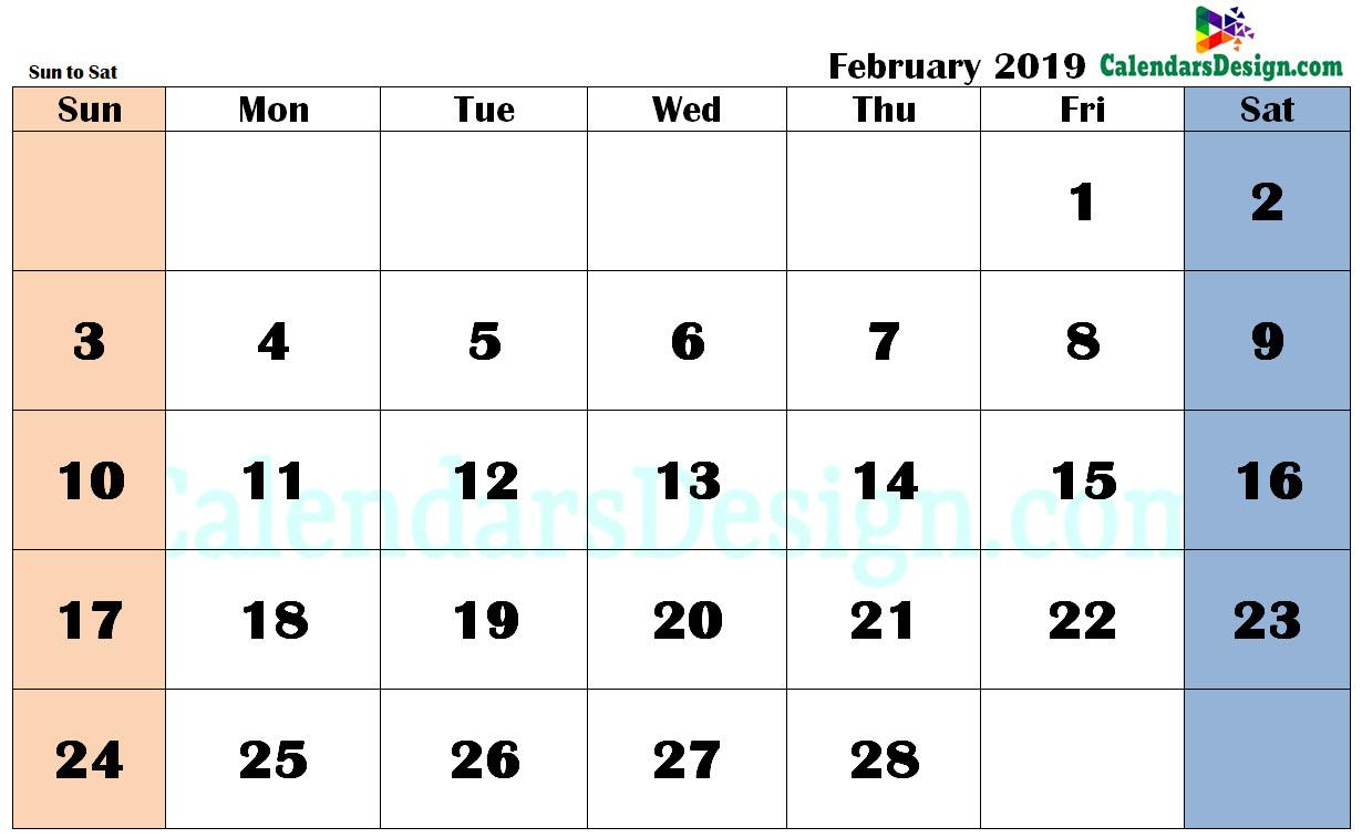 February 2019 Calendar in PDF