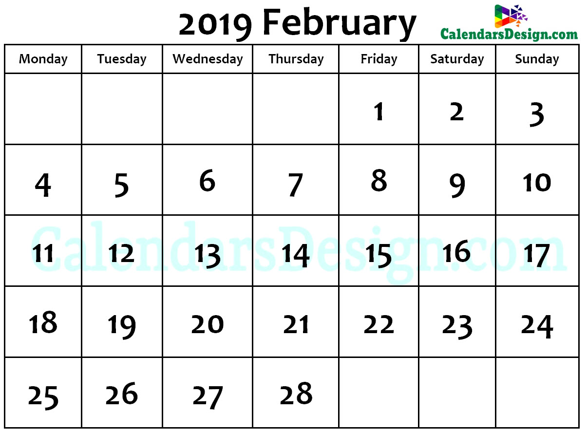February Calendar 2019 Word Format