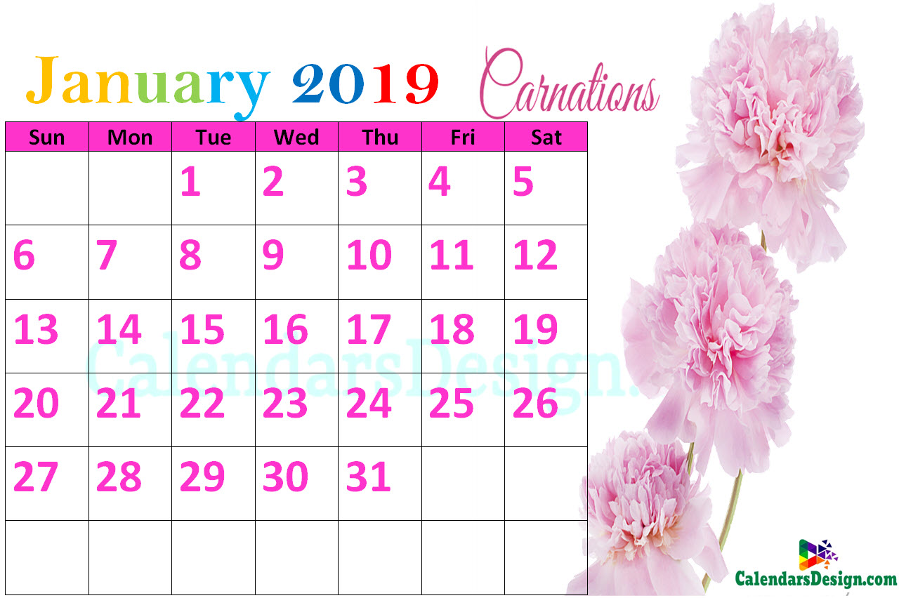 January 2019 Floral Calendar Free Printable Floral January 2019 Calendar Printable   Free 2019 Printable