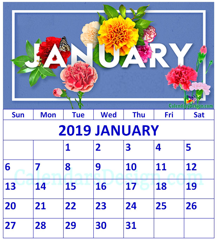 Floral January 2019 Calendar