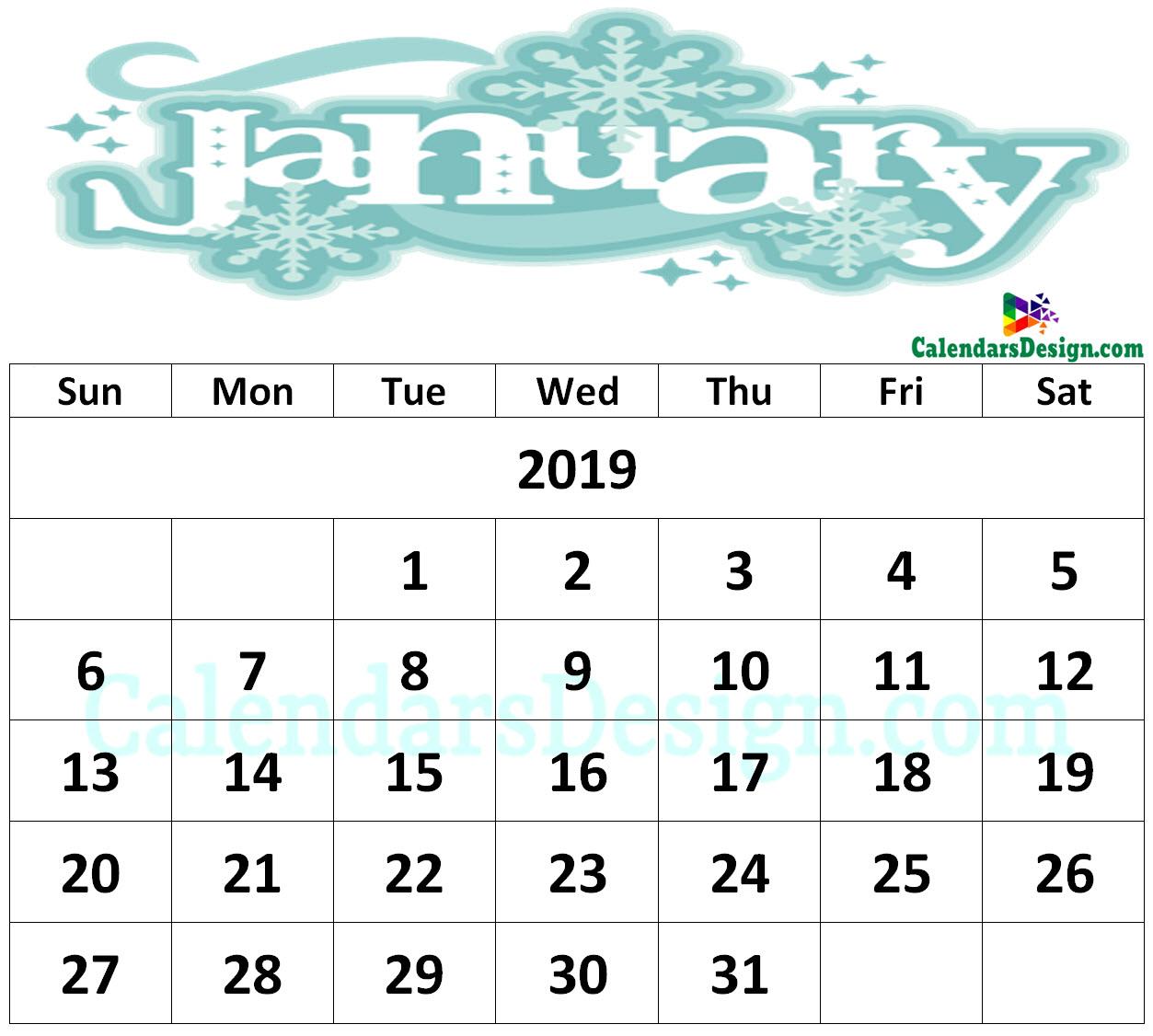 Floral January 2019 Wall Calendar