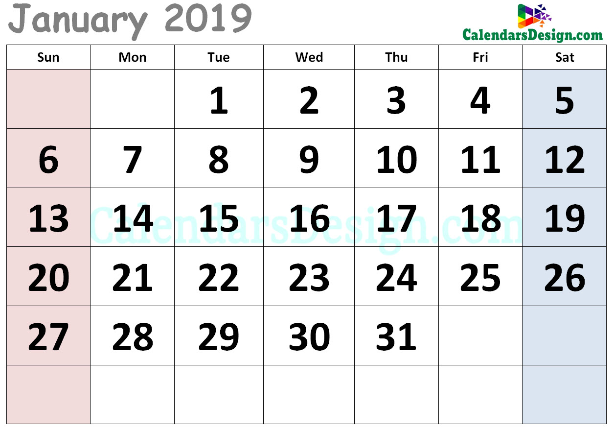 January 2019 Calendar Cute Designs