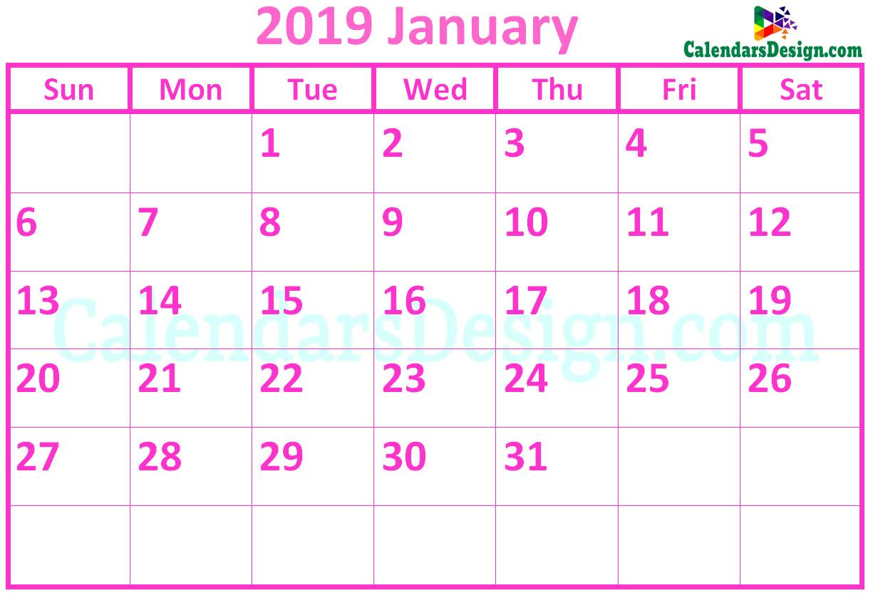 January 2019 Calendar Pink