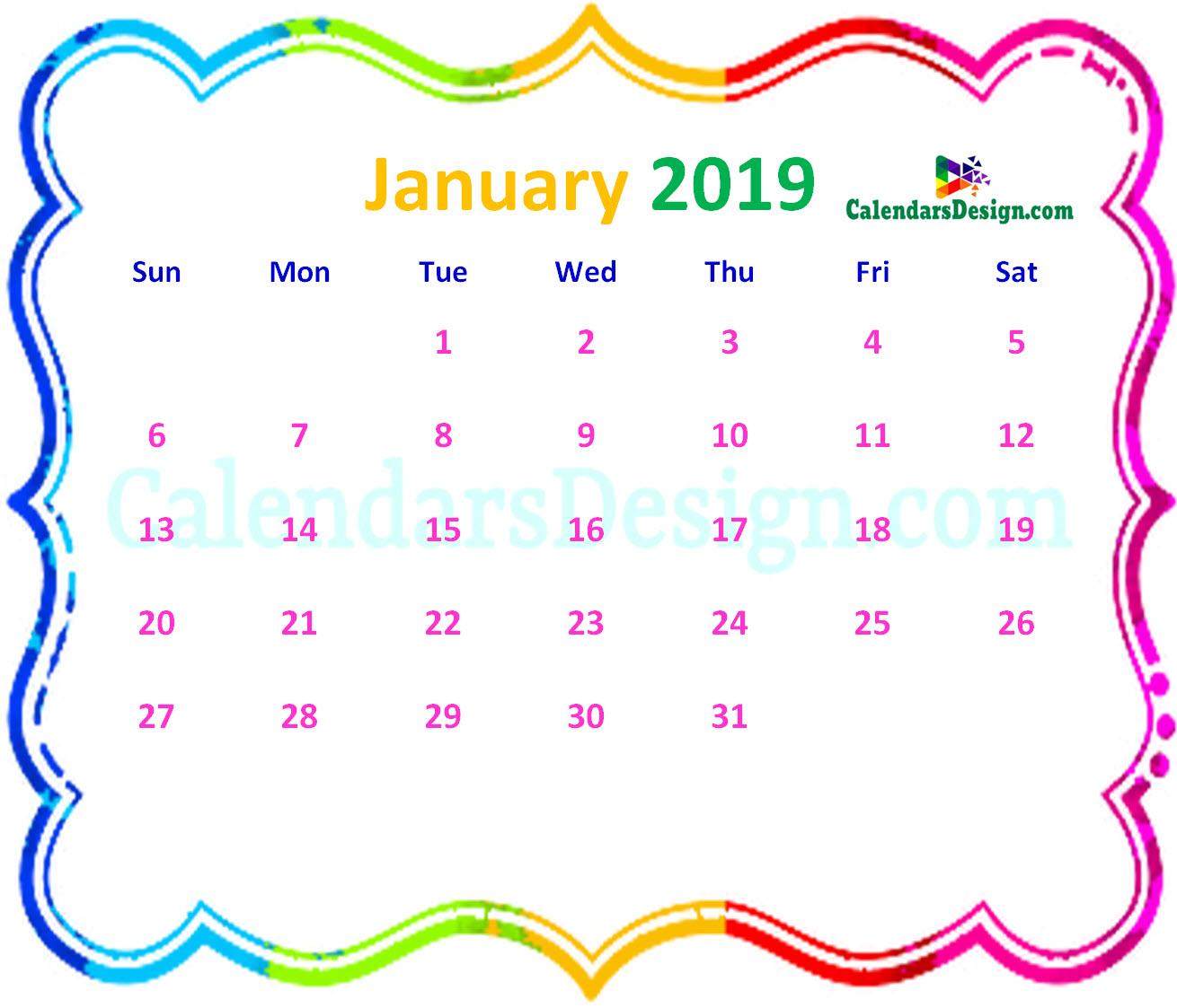 January 2019 Calendar Tumblr