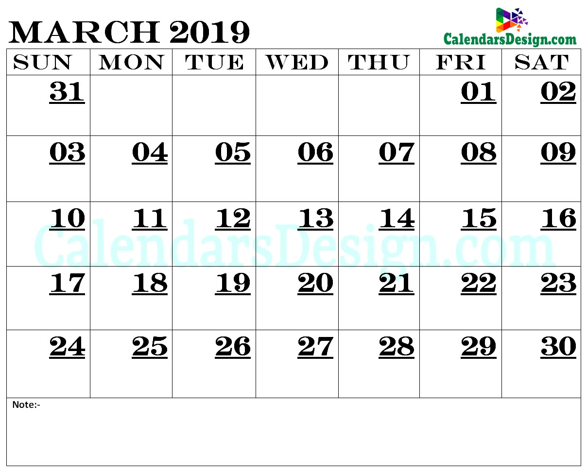 March 2019 Calendar Blank Template