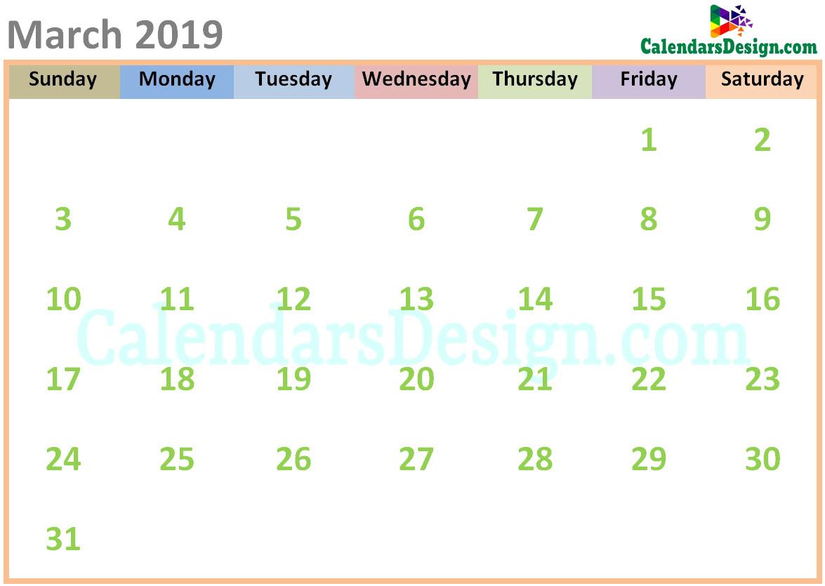 March 2019 Calendar Cute Designs