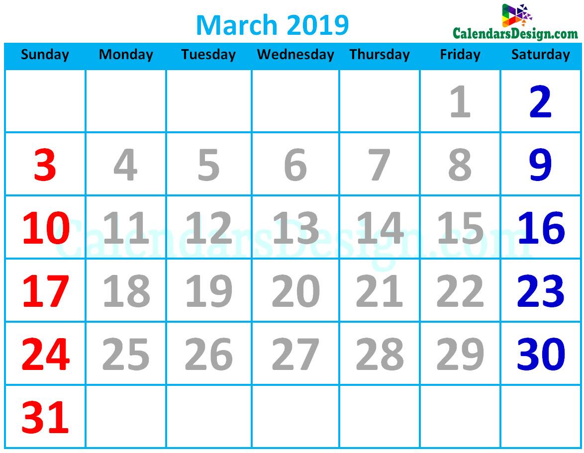 March 2019 Calendar Cute