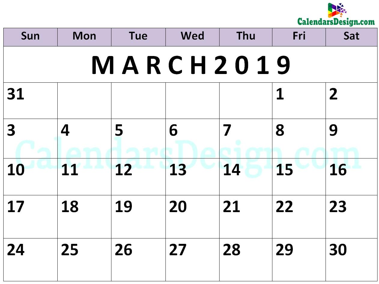 March 2019 Calendar PDF