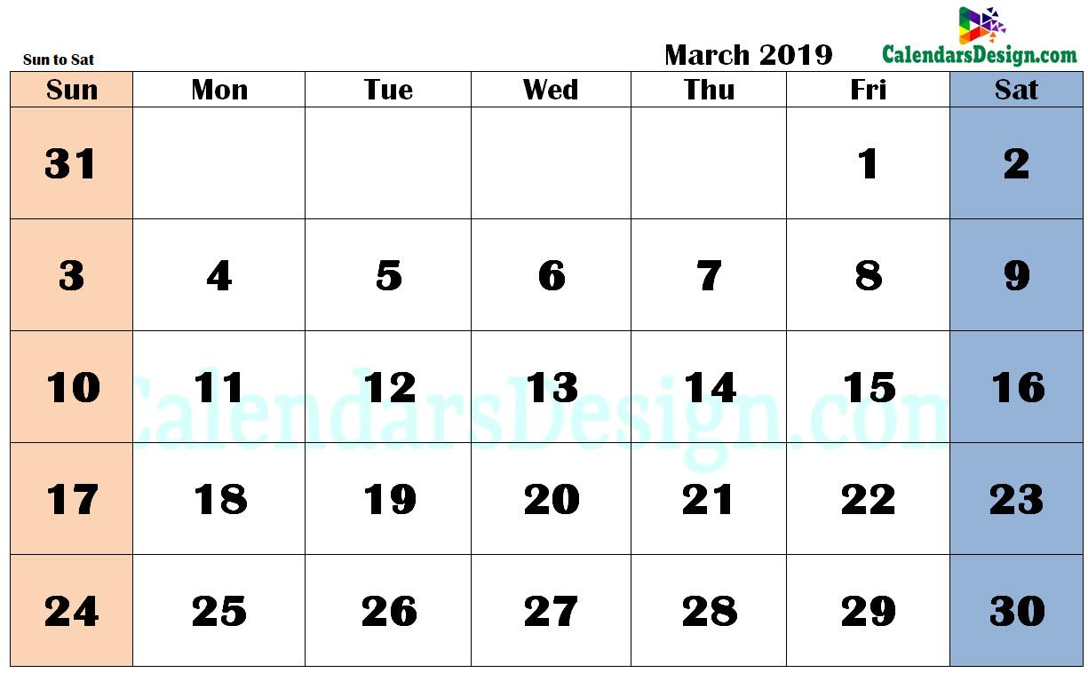 March 2019 Calendar in PDF