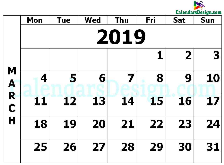 March Calendar 2019 PDF