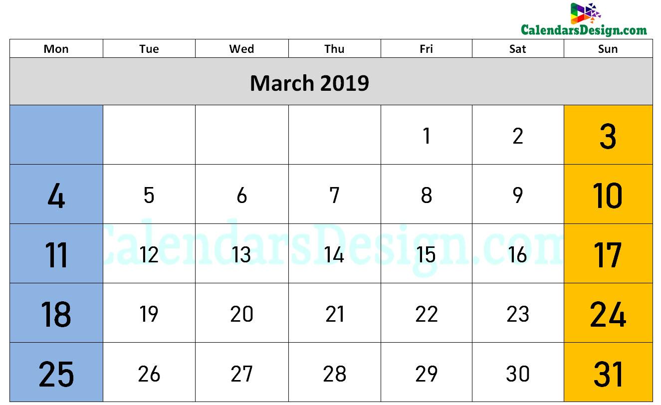 March Calendar 2019 Word Format