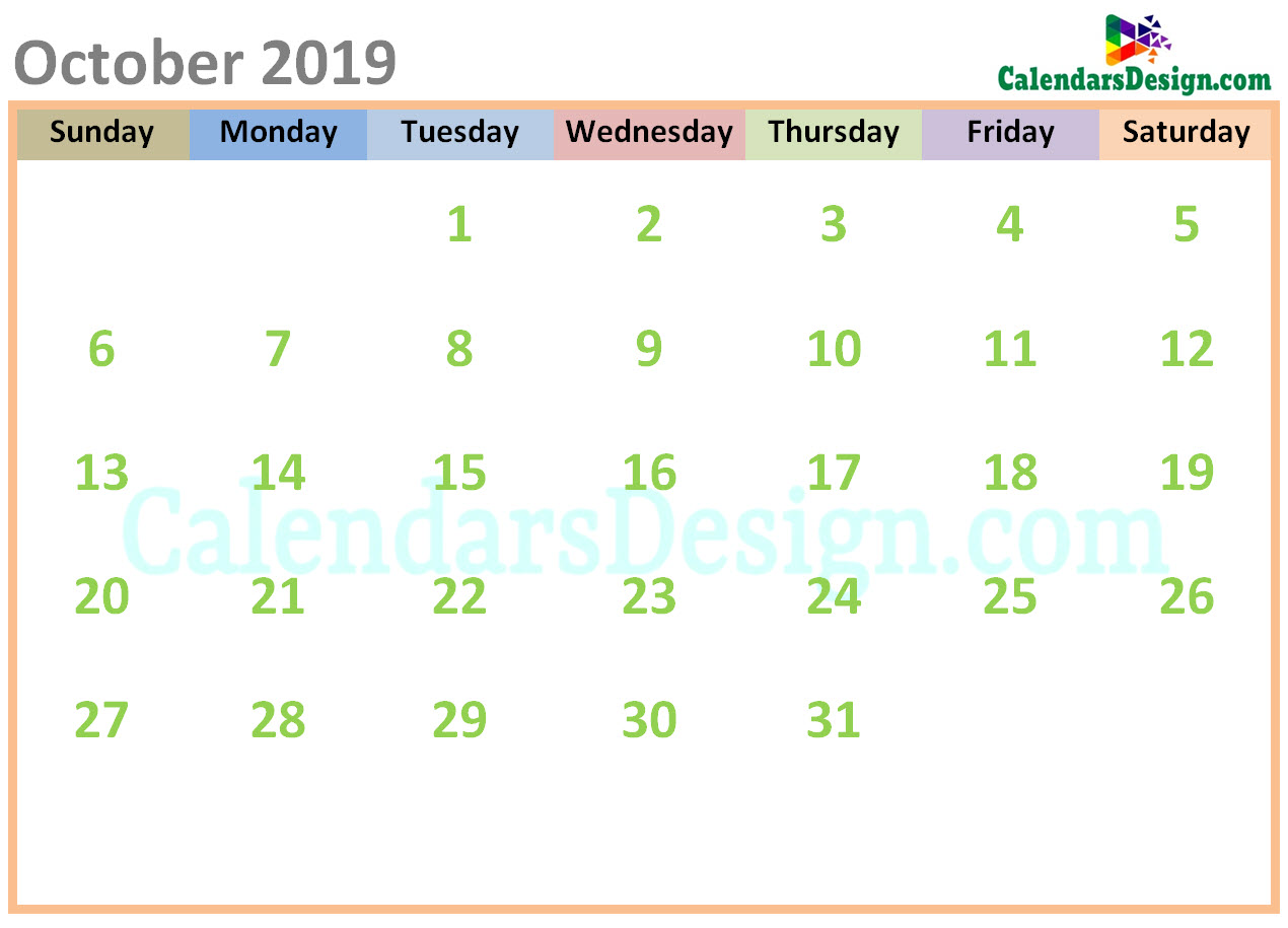 October 2019 Calendar Cute Designs