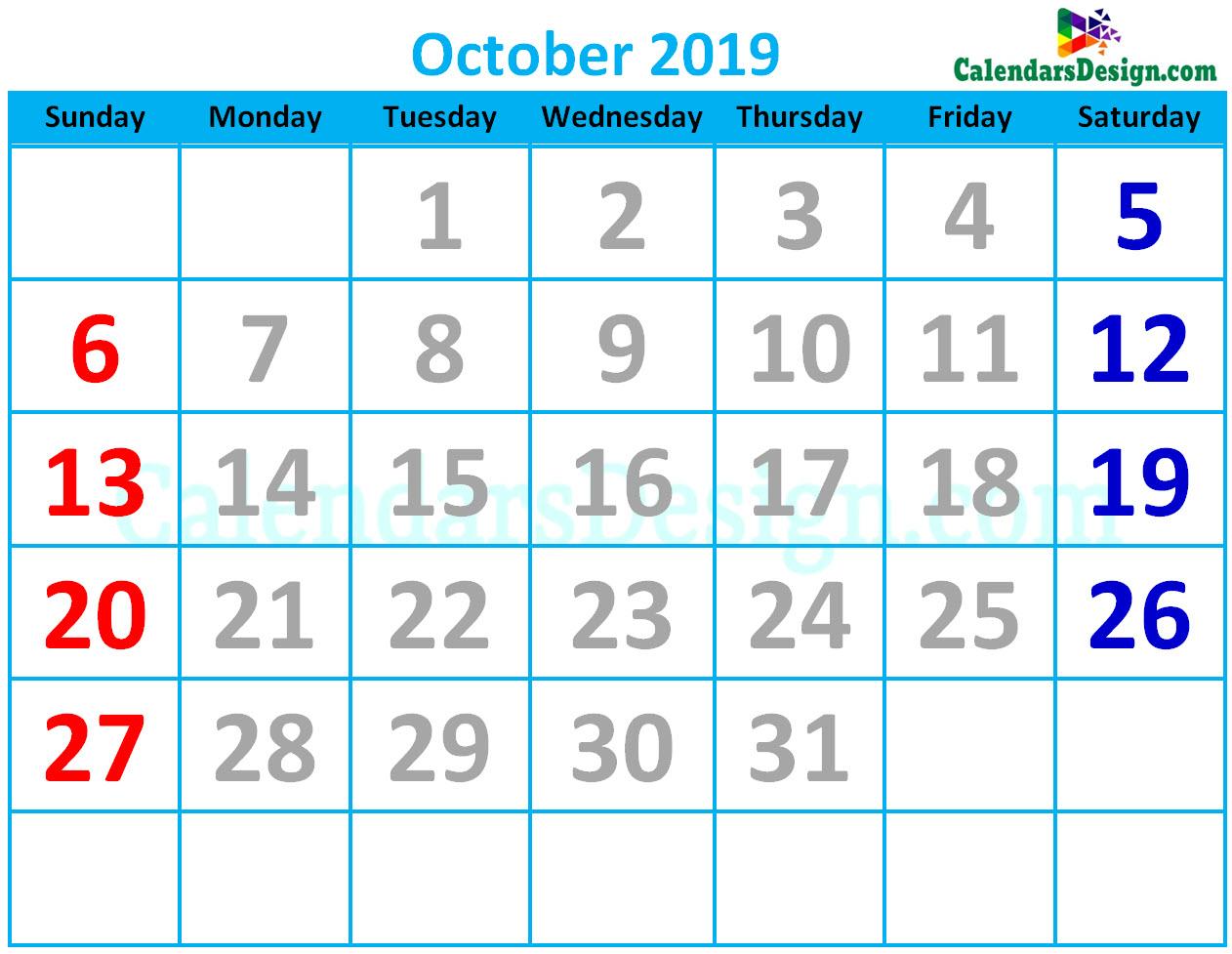 October 2019 Calendar Cute