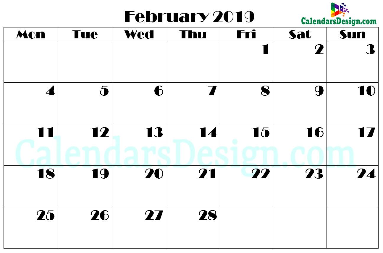 Printable Calendar for February 2019 PDF