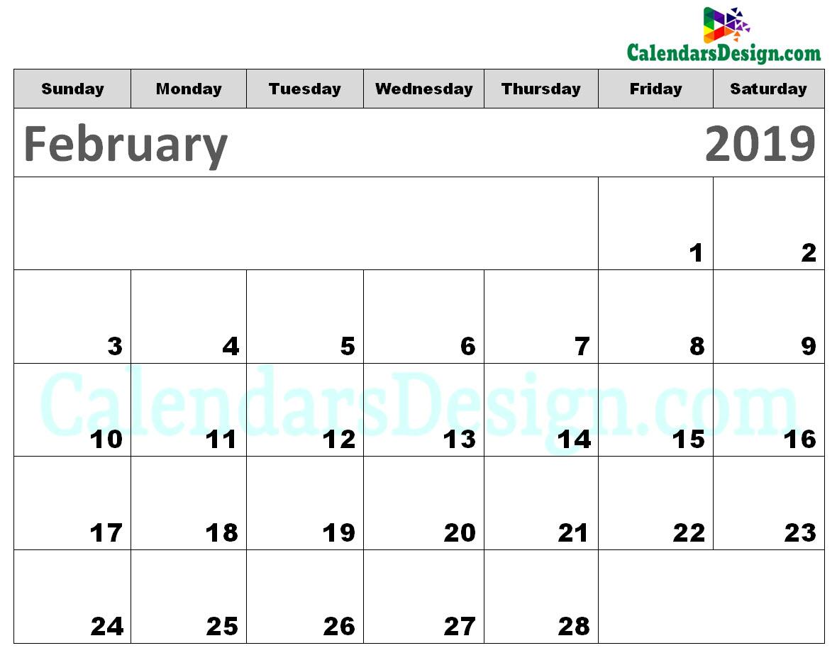 Printable Calendar for February 2019 Templates