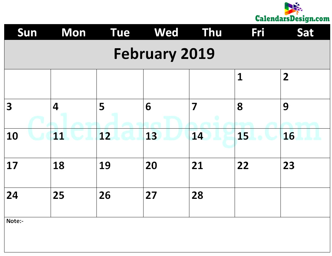 photograph about February Printable Calendar known as Printable Calendar for February 2019 Phrase - Free of charge 2019