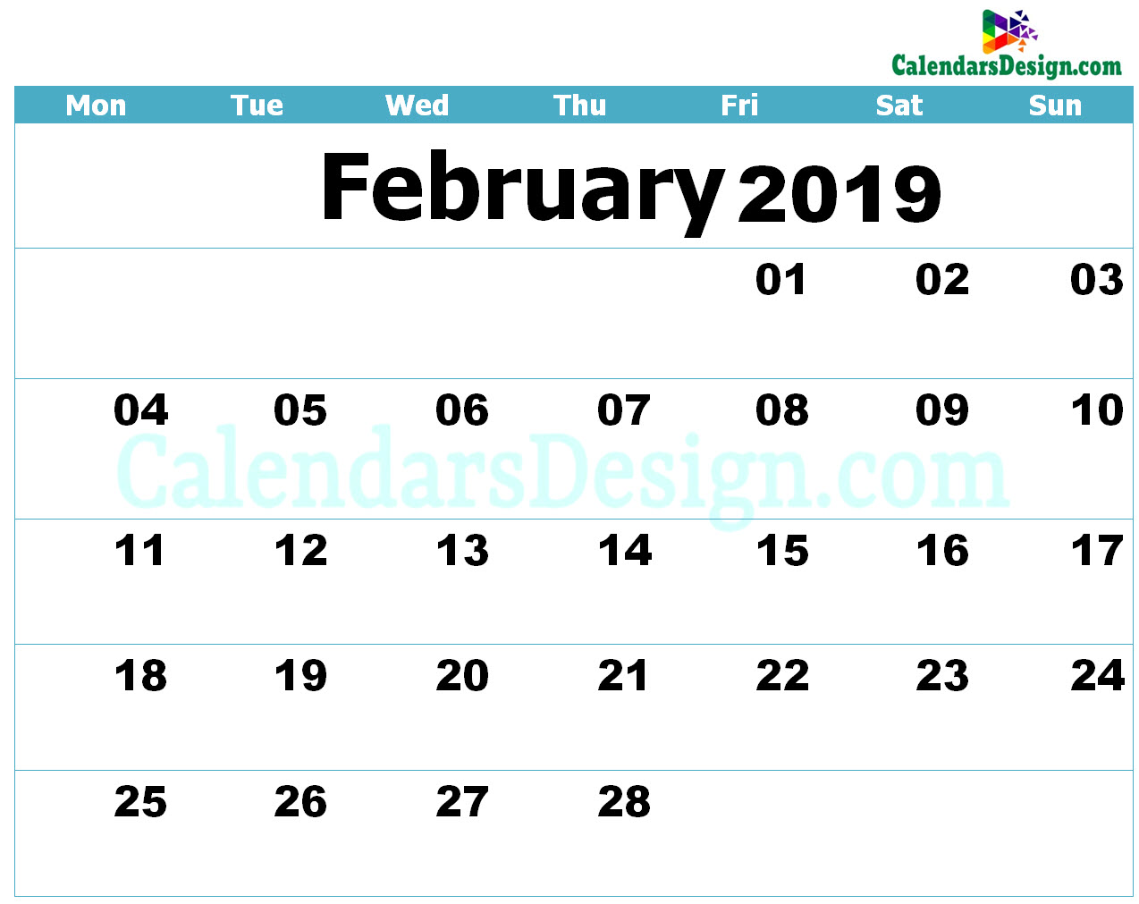 graphic regarding Feb. Printable Calendar known as Printable Calendar for February 2019 - No cost 2019 Printable