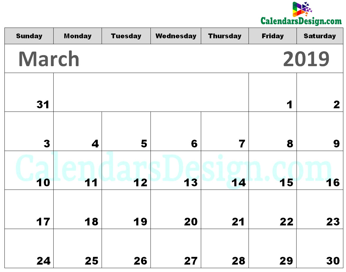 Printable Calendar for March 2019 Templates