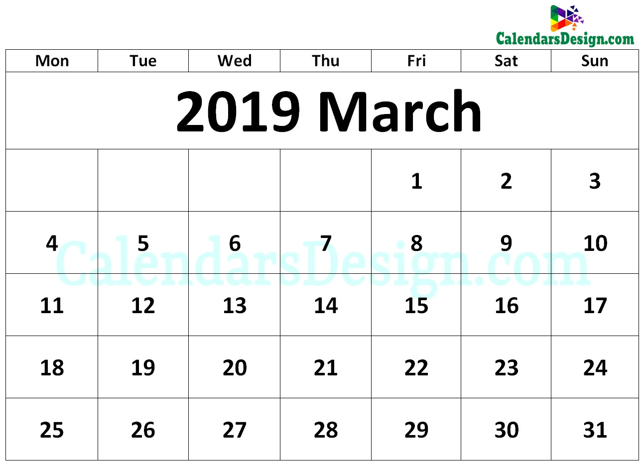 Printable Calendar for March 2019