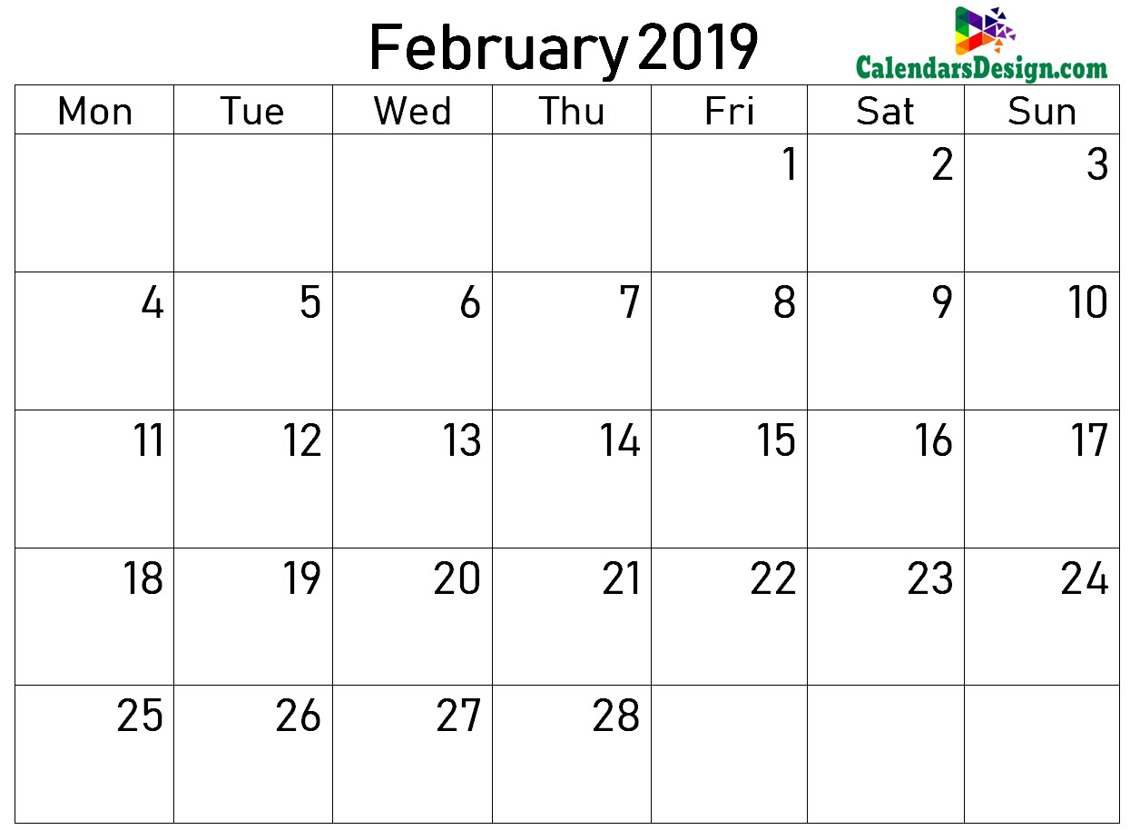 2019 Calendar February Excel Templates