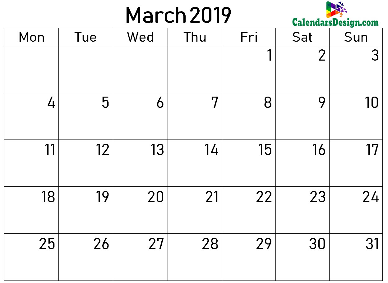 2019 Calendar March Excel Templates
