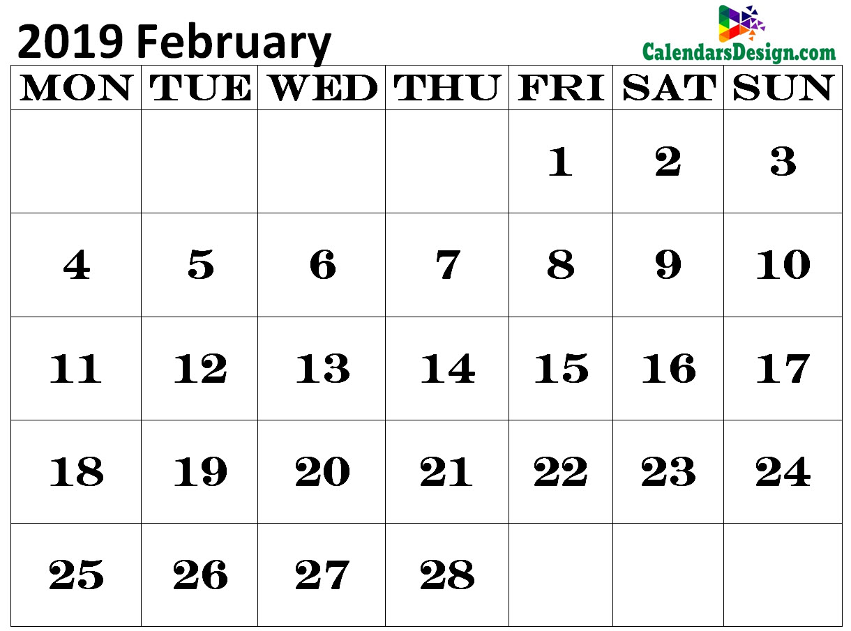 Calendar for February 2019 Excel to Print