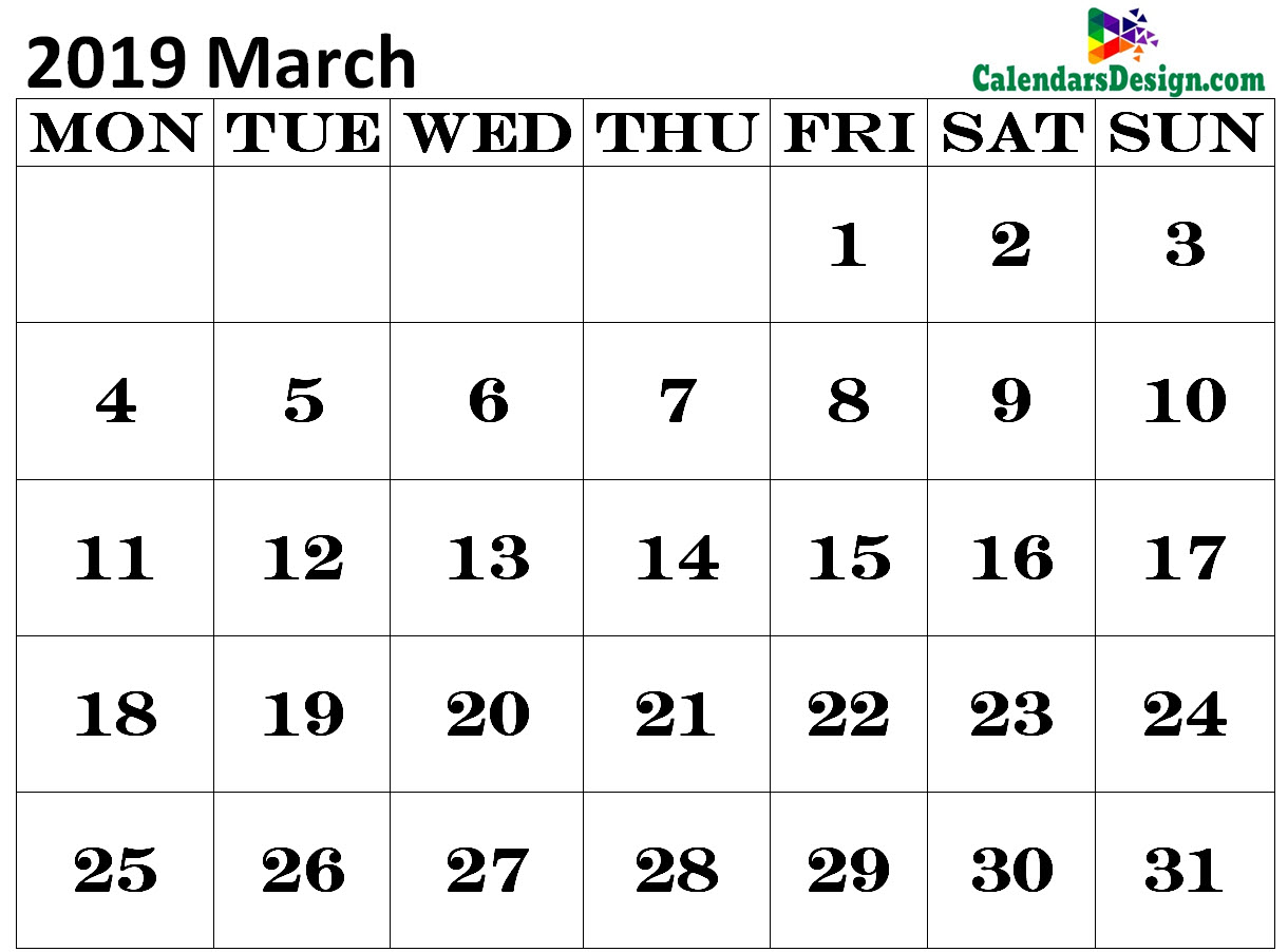 Calendar for March 2019 Excel to Print