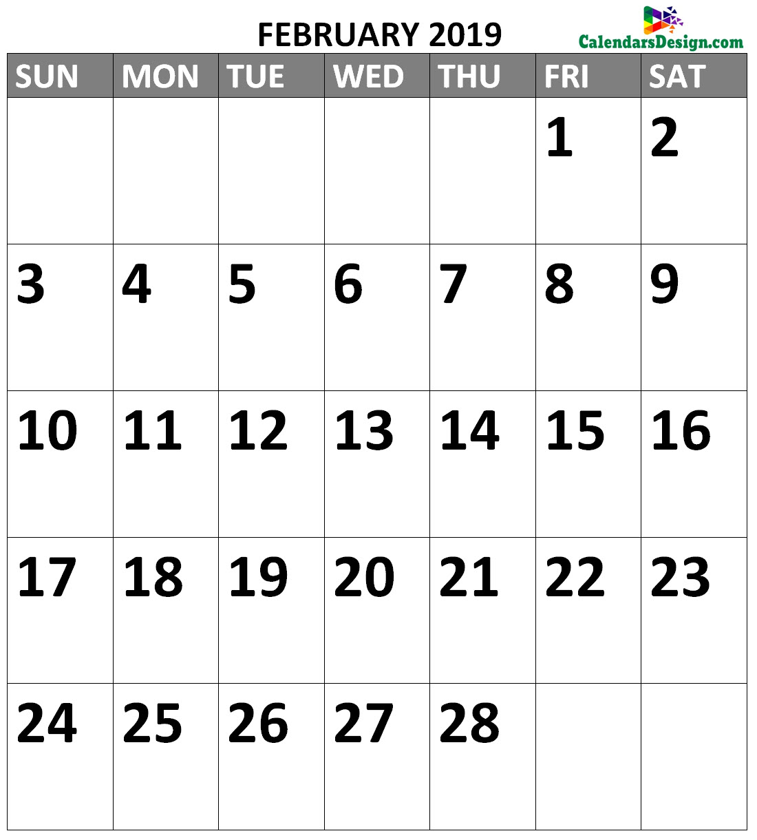 February 2019 Calendar Formats