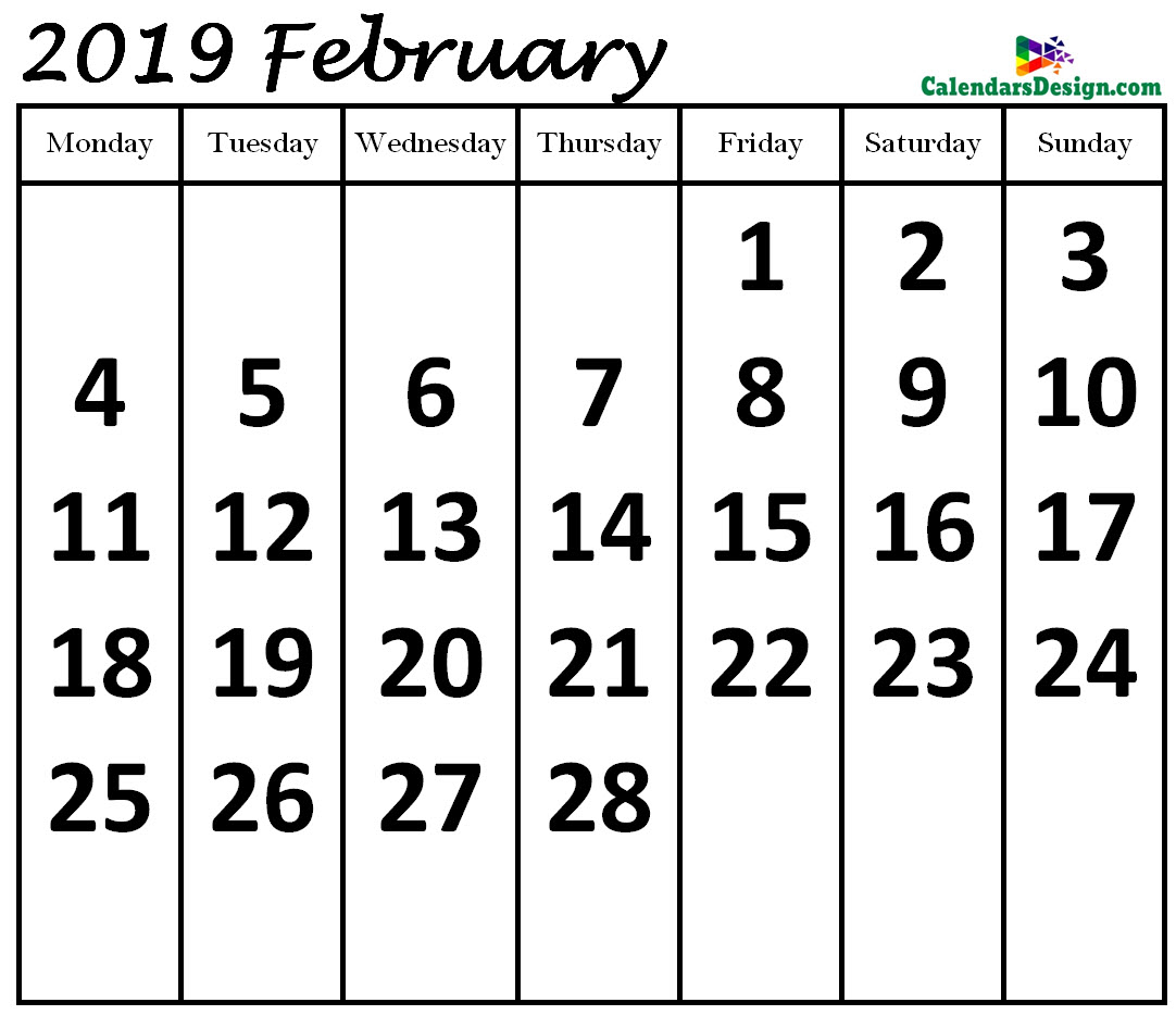 February 2019 Calendar in Page