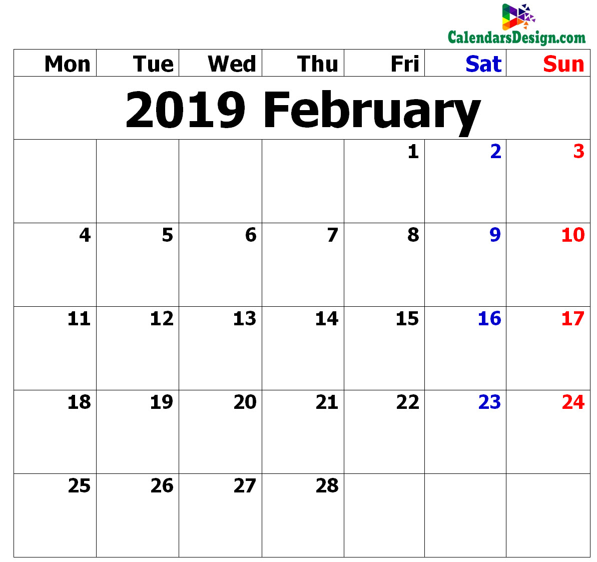 February Calendar 2019 in Excel Format