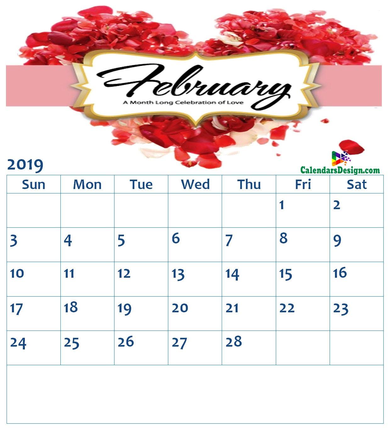 Floral February 2019 Calendar Printable