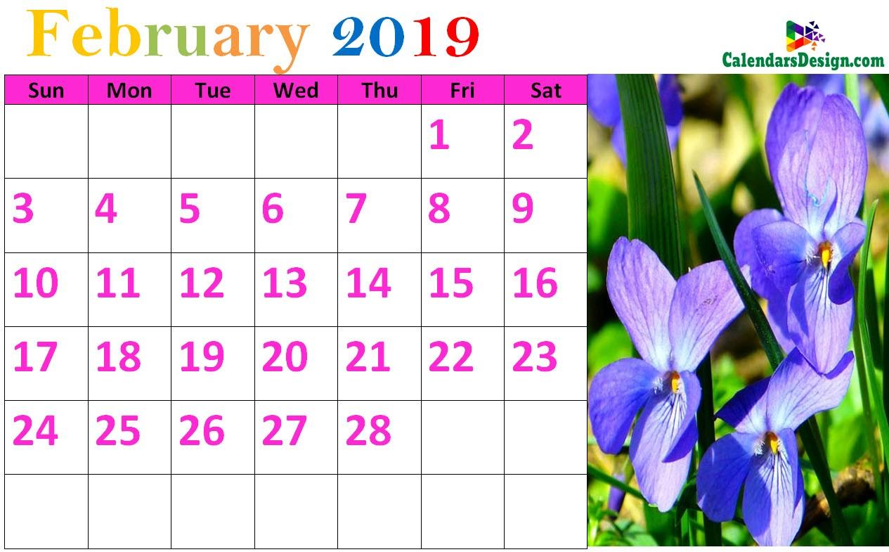 Floral February 2019 Calendar