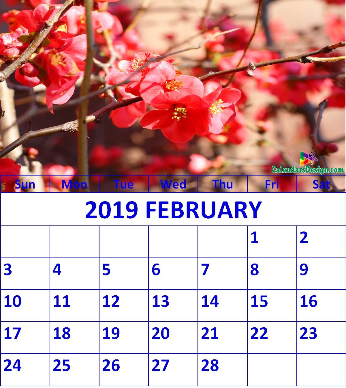 Floral February 2019 Wall Calendar