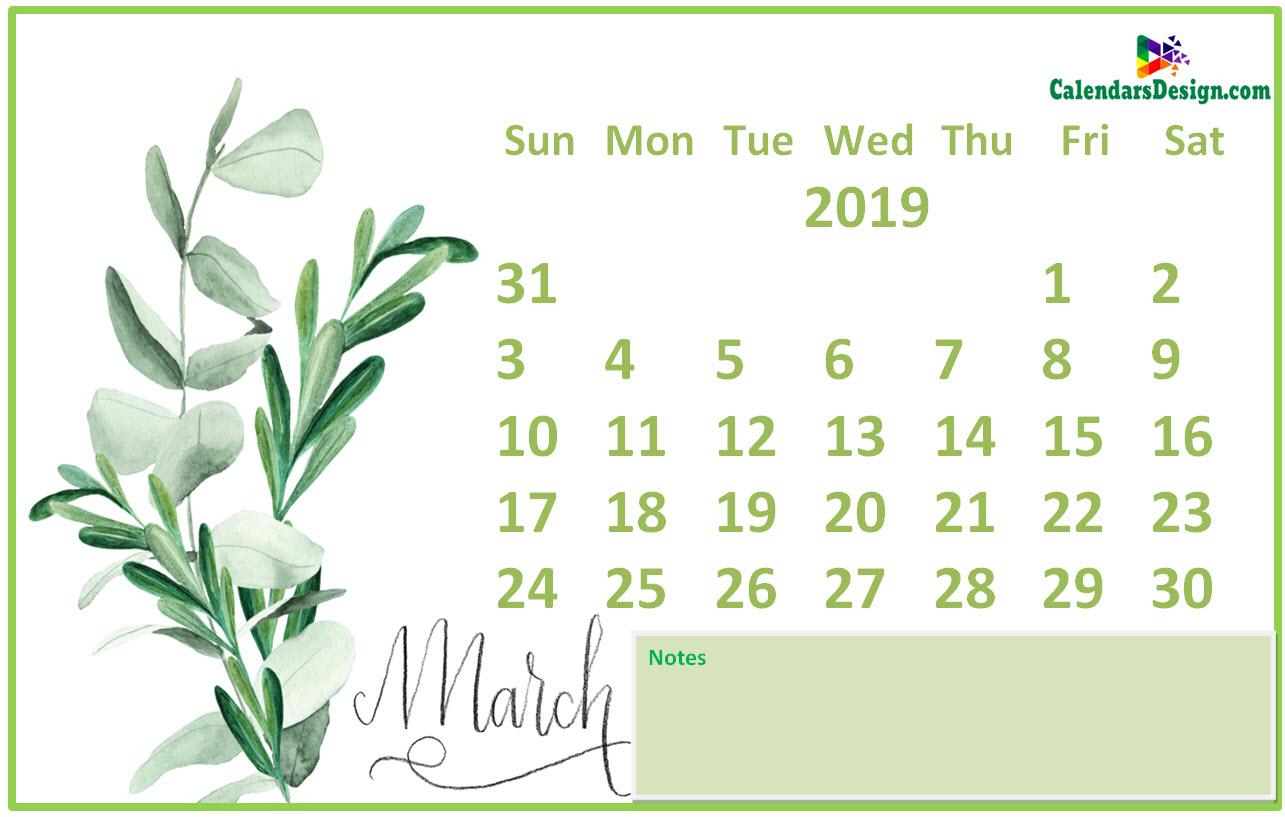 Floral March 2019 Calendar Printable