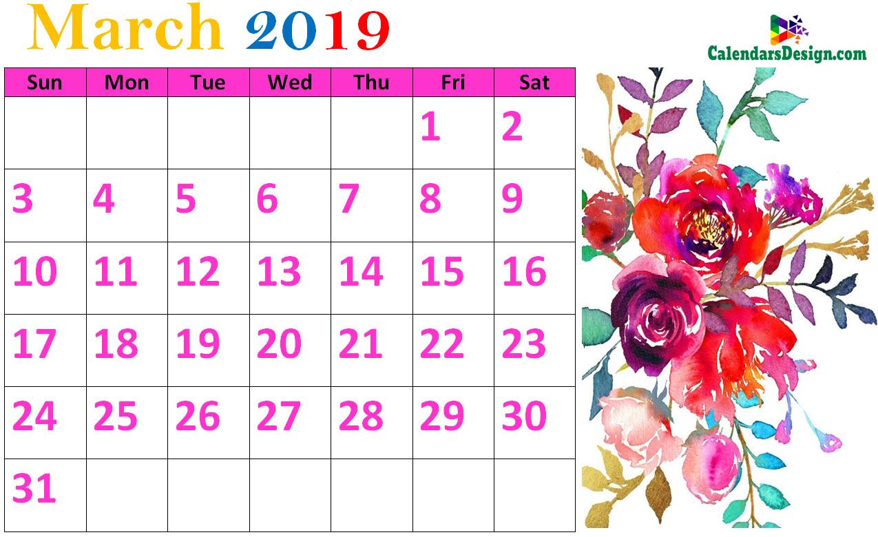 Floral March 2019 Calendar