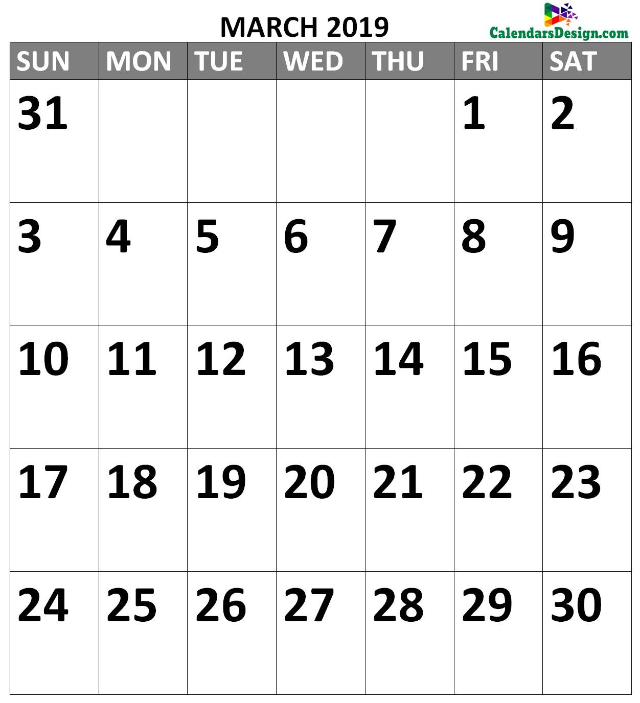 March 2019 Calendar A4 Size