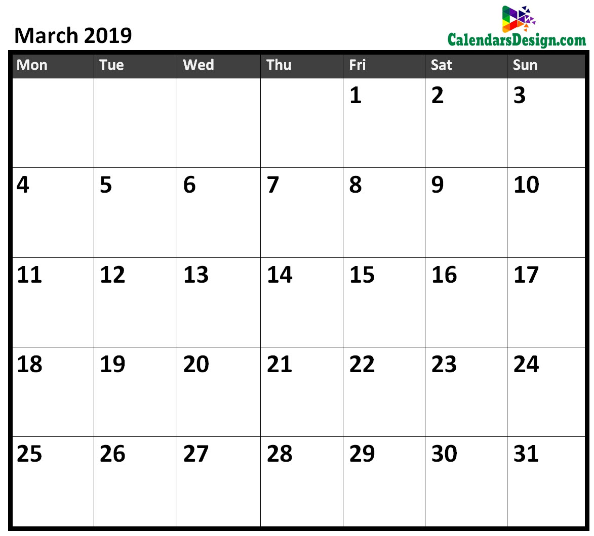 March 2019 Calendar Excel Free 2019 Printable Calendar