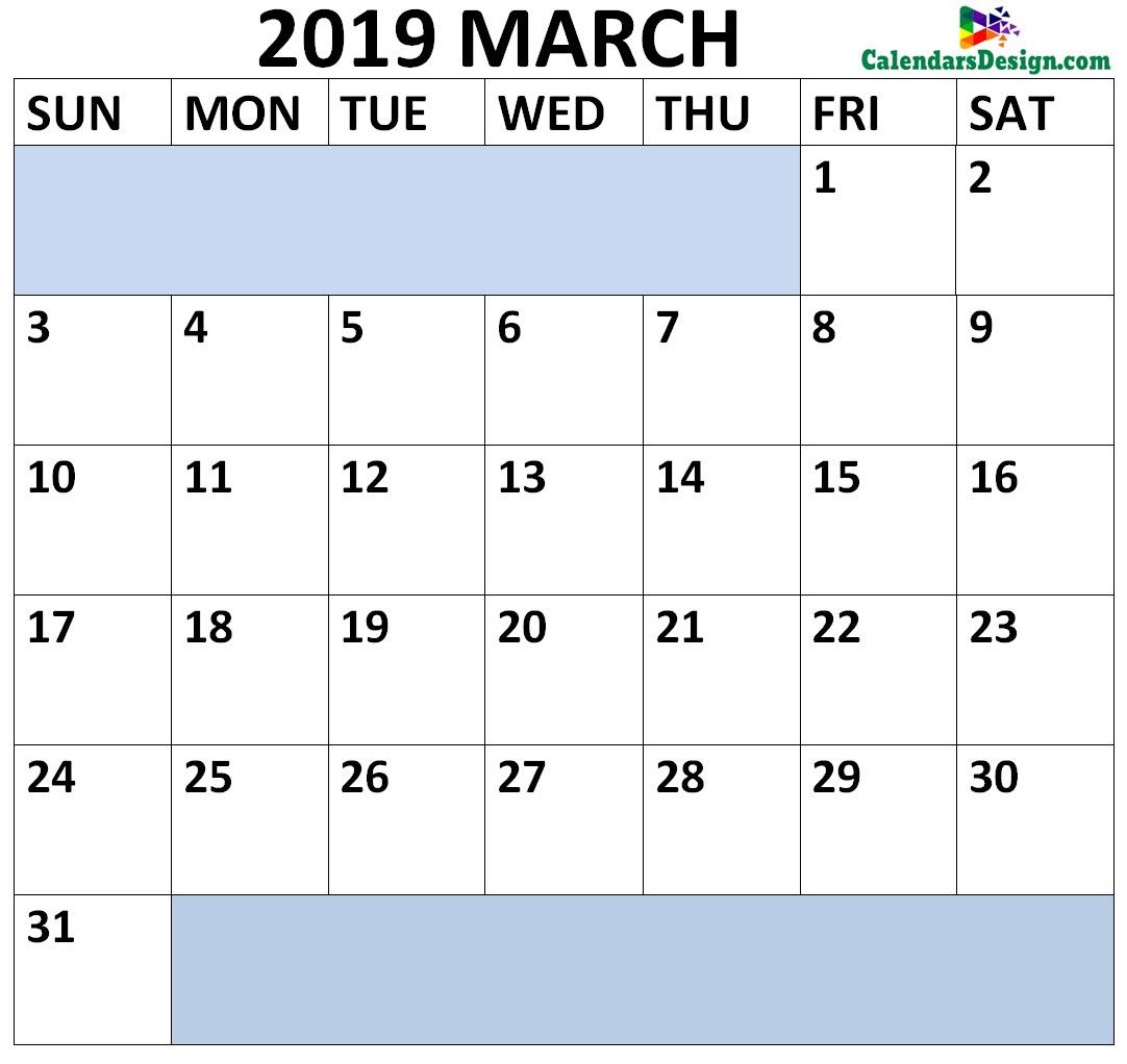 March 2019 Calendar Landscape