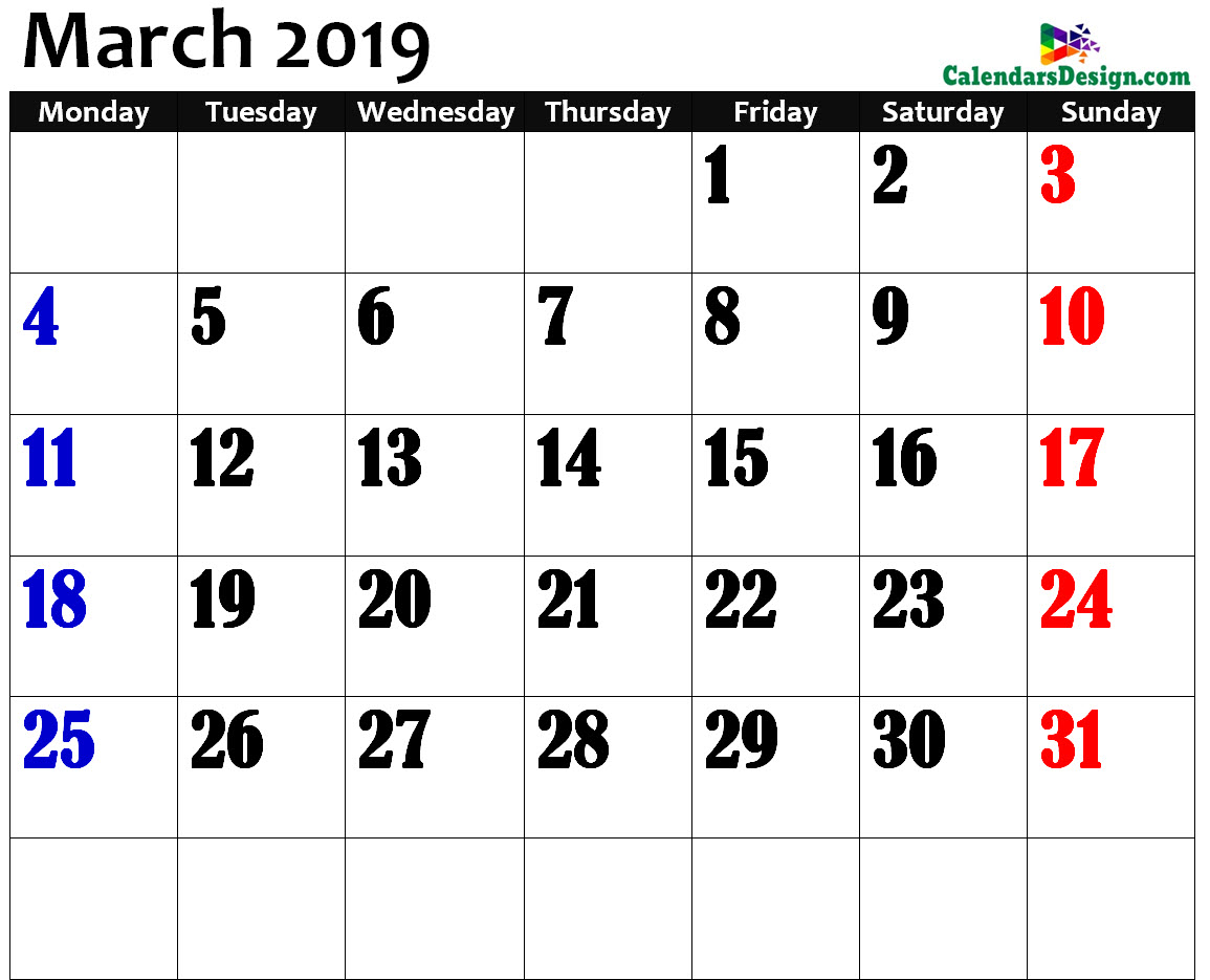 March 2019 Calendar Page