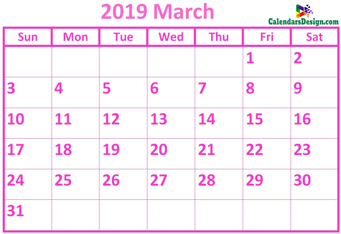 March 2019 Calendar Pink