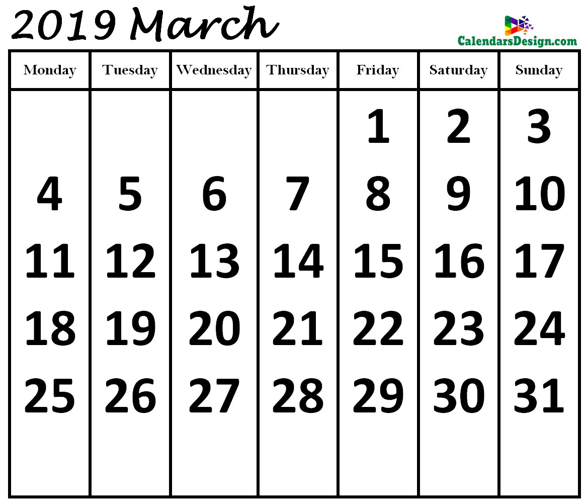 March 2019 Calendar in Page