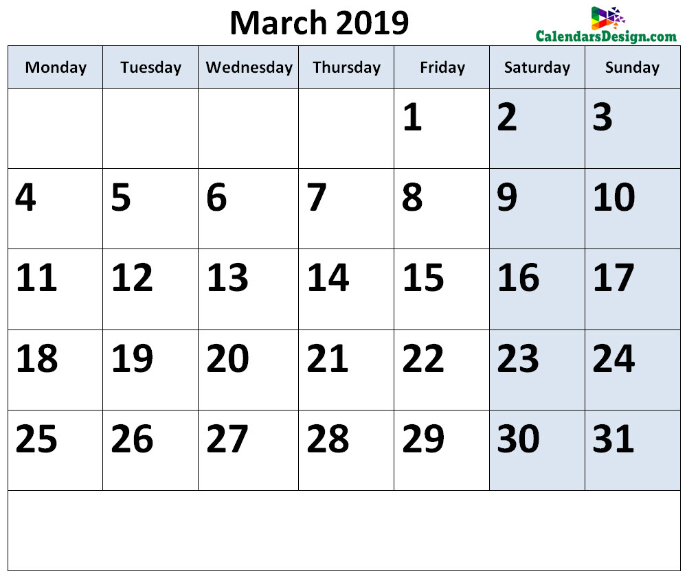 March Calendar 2019 Page