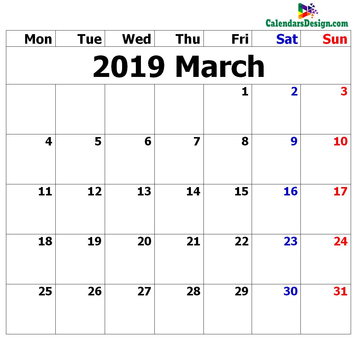 March Calendar 2019 in Excel Format